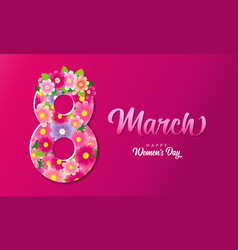 8 march happy womens day lettering pink poster vector image