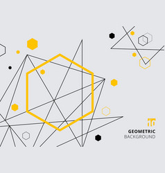 abstract yellow and black geometric hexagon with vector image