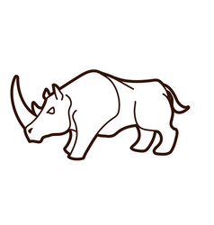 angry rhino ready to fight cartoon graphic vector image