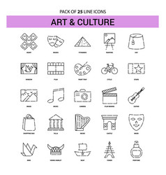 Art and culture line icon set - 25 dashed outline vector