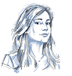Art drawing portrait gorgeous dreamy girl vector