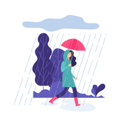 Autumn rain park walking springtime rainy day vector
