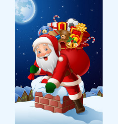 Background christmas santa entered roof the house vector