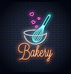 baking with wire whisk neon sign bakery neon vector image
