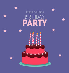 Birthday party invitation with cute cake vector
