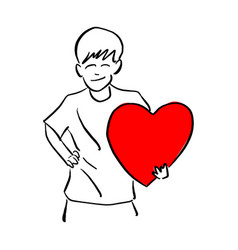boy holding big red heart shape sign on his left vector image
