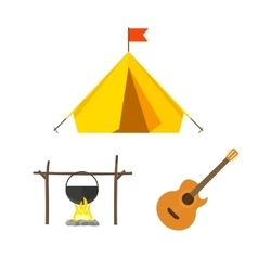 Camping equipment set isolated on white vector image