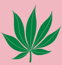 Cannabis leaf freehand drawing on pink background vector
