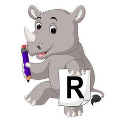 Cartoon rhino holding pencil vector