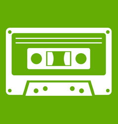 cassette tape icon green vector image