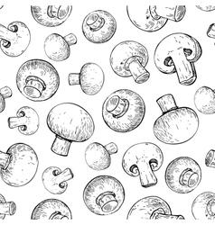 Champignon mushroom hand drawn seamless vector image