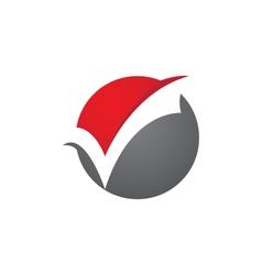 Check mark v letter logo template vector
