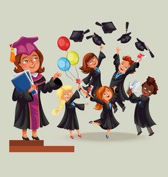 Cheerful graduates on celebration ceremony flat vector
