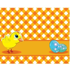 Chicken and painted eggs on a checkered background vector image