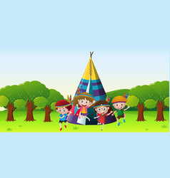 children playing red indians in park vector image