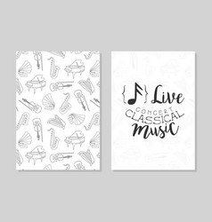 classical music live concert card templates vector image