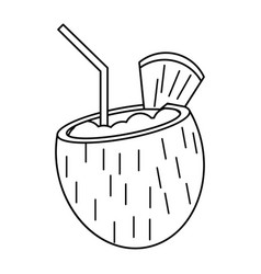 cocktail coconut fresh drink thin line vector image