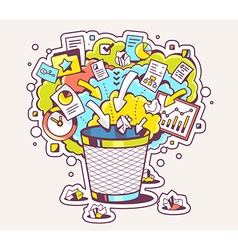 Colorful of office trash can and documents o vector