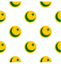 crescent moon and star pattern flat vector image