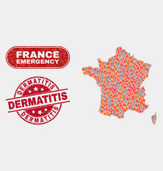 Crisis and emergency collage france map and vector