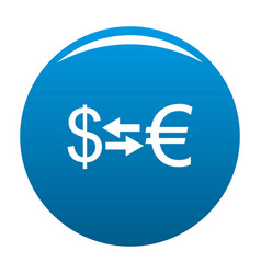 currency exchange icon blue vector image