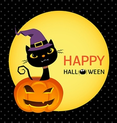 Cute black cat on a halloween pumpkin card vector