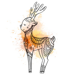 cute cartoon deer with boho pattern with vector image
