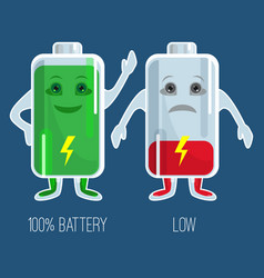 Cute full and low charged batteries in flat design vector
