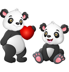 cute panda couple in love vector image