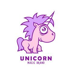 cute pink unicorn baby mascot character vector image