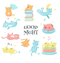 cute sleeping pet cats icon set vector image