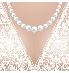 decolette white lace bridal dress vector image