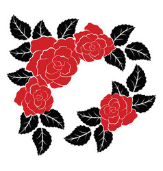 decoration with red roses and black leaves vector image