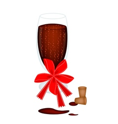 Delicious Red Wine With Bow and Ribbon vector image