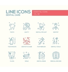 Dental Care - line design icons set vector image