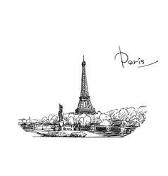 eiffel tower sketch hand drawn black ink landmark vector image