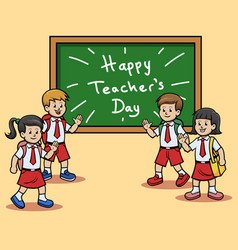 elementary school students give teachers day vector image
