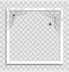 Empty photo frame template with spider cobweb vector