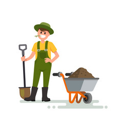 farmer man with shovel vector image