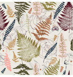 Fashion vintage fern seamless pattern for textile vector