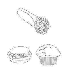 Fast food outline icons in set collection for vector