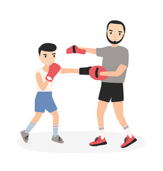 father and son dressed in sportswear practicing vector image