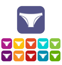 female cotton panties icons set flat vector image