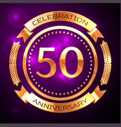 fifty years anniversary celebration with golden vector image