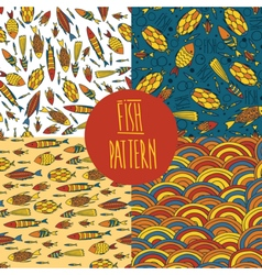 Fish pattern set vector image