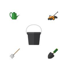 Flat icon garden set pail bailer hay fork and vector