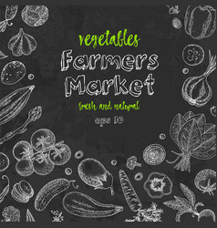 fresh vegetables hand drawn frame vector image