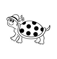 Funny turtle cartoons outlined cartoon drawing vector