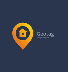 Geotag with house or location pin logo icon design vector