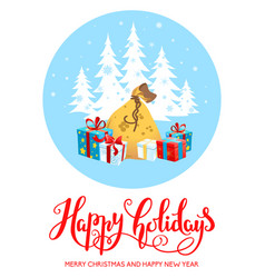 gifts happy holiday vector image